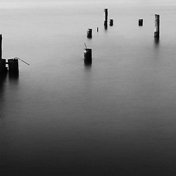 Abandon pilings create zen like moments in Elliot Bay, Seattle Washington