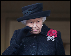 November 10, 2019, London, London, United Kingdom: Image licensed to i-Images Picture Agency. 10/11/2019. London, United Kingdom. Queen Elizabeth II with a tear in her eye at the Remembrance Sunday service at The Cenotaph in London. (Credit Image: © Stephen Lock/i-Images via ZUMA Press)