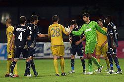 Dzengis Cavusevic  (28) of Domzale and goalkeeper of Dinamo Tomislav Butina after 1st football game of 2nd Qualifying Round for UEFA Champions league between NK Domzale vs HNK Dinamo Zagreb, on July 30, 2008, in Domzale, Slovenia. Dinamo won 3:0. (Photo by Vid Ponikvar / Sportal Images)