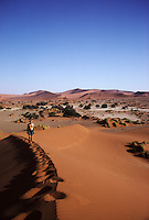 A man climbs a giant sand dune at Sossusvlei, Namibia