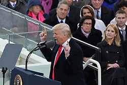 January 20, 2017 - Washington, DC, United States of America - President  DONALD J. TRUMP delivers his Inaugural address after being sworn-in as the 45th President on Capitol Hill. (Credit Image: © Richard Ellis via ZUMA Wire)