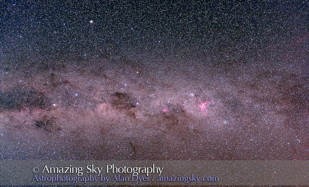 Eta Carina area and Crux, from Carina to Centaurus area of Milky Way. With Hutech-modified Canon 5D camera and Canon 35m f1.4 L lens stopped to f4, at ISO400 for 5 minutes each. Stack of four exposures. Taken from Queensland, Austalia, June 2006. Image cropped slightly in vertical dimension to take out silhouette of dewcap inadvertently included in frame.