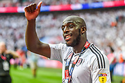 Fulham striker Aboubakar Kamara (47)  celebrates in front of the Fulham fans during the EFL Sky Bet Championship play-off final match between Fulham and Aston Villa at Wembley Stadium, London, England on 26 May 2018. Picture by Dennis Goodwin.
