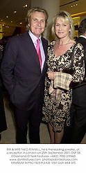 MR & MRS THEO FENNELL, he is the leading jeweller, at a reception in London on 25th September 2001.OSP 56