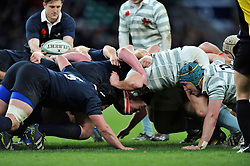 The Oxford and Cambridge University packs engage at a scrum - Photo mandatory by-line: Patrick Khachfe/JMP - Mobile: 07966 386802 11/12/2014 - SPORT - RUGBY UNION - London - Twickenham Stadium - Oxford University v Cambridge University - The Varsity Match