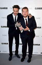 James Corden (right) receives the Man Of The Year Award from Liam Payne (left) in the press room at the Glamour Women of the Year Awards 2017, Berkeley Square Gardens, London.