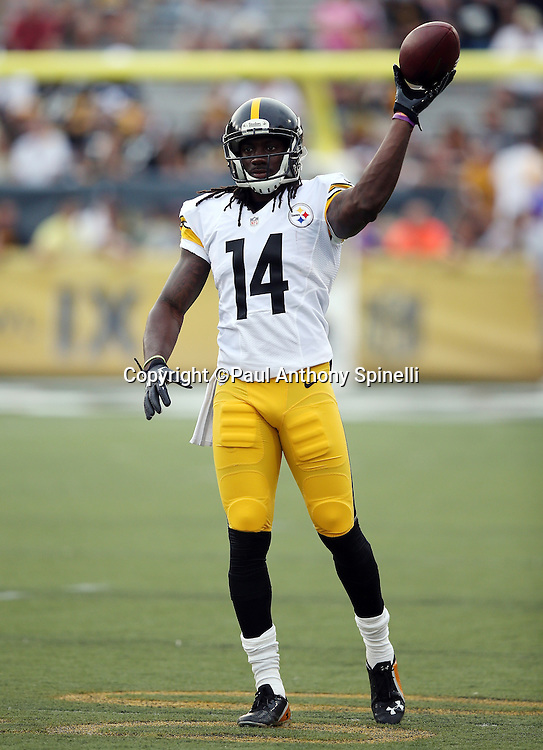 Pittsburgh Steelers wide receiver Sammie Coates (14) throws a pass while warming up before the 2015 NFL Pro Football Hall of Fame preseason football game against the Minnesota Vikings on Sunday, Aug. 9, 2015 in Canton, Ohio. The Vikings won the game 14-3. (©Paul Anthony Spinelli)