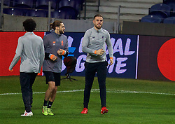 PORTO, PORTUGAL - Tuesday, February 13, 2018: Liverpool's Adam Lallana and captain Jordan Henderson during a training session at the Estádio do Dragão ahead of the UEFA Champions League Round of 16 1st leg match between FC Porto and Liverpool FC. (Pic by David Rawcliffe/Propaganda)