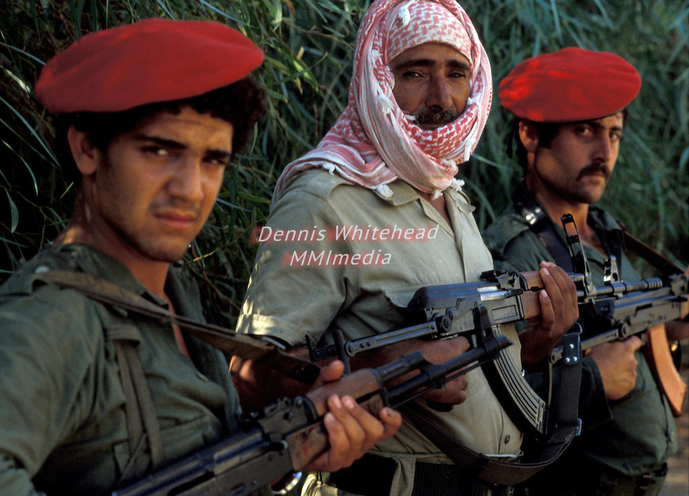 Members of the PLO Fatah forces outside of Tyre, Lebanon in the southern part of the country in 1981.