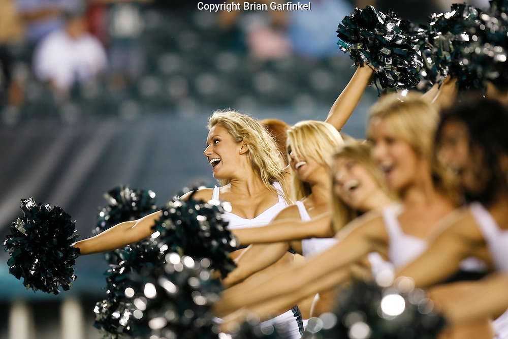 8 August 2008: Philadelphia Eagles Cheerleaders dance on the field during the game against the Carolina Panthers on August 14, 2008. The Eagles beat the Panthers 24 to 13 at Lincoln Financial Field in Phialdelphia, Pennsylvania.