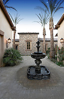 Fountain in luxury villa's courtyard