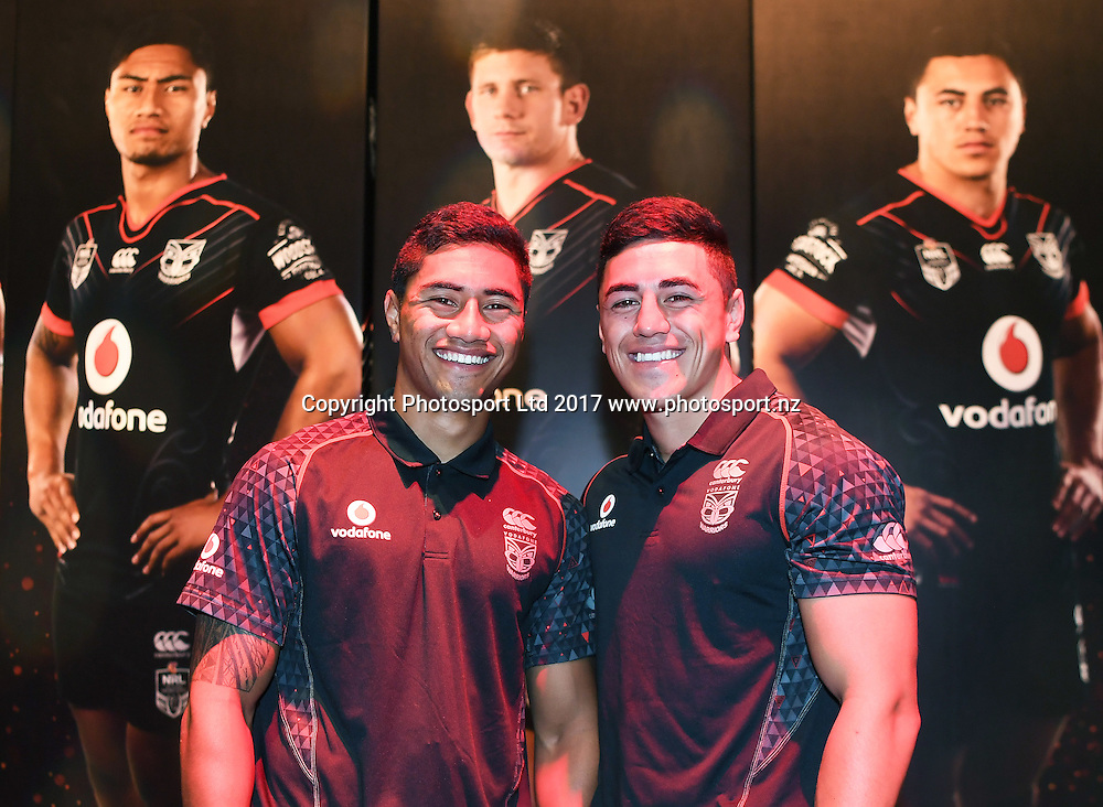 Ata Hingano and Nathaniel Roache during the Vodafone Warriors season launch ahead of the 2017 NRL rugby league competition. Sky City, Auckland. Wednesday, 22 February 2017. © Copyright photo: Andrew Cornaga / www.photosport.nz