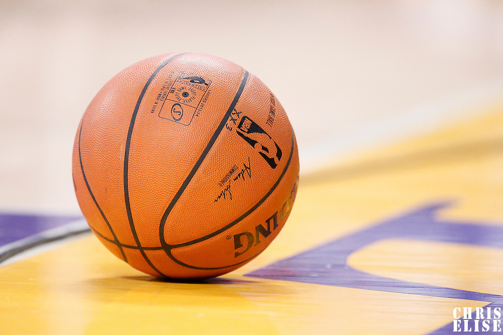 09 March 2014: Close view of an official ball game during the Los Angeles Lakers 114-110 victory over the Oklahoma City Thunder at the Staples Center, Los Angeles, California, USA.