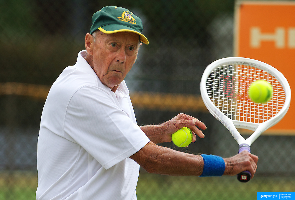 Harward Hillier, Australia, in action in the 80 Mens Singles during the 2009 ITF Super-Seniors World Team and Individual Championships at Perth, Western Australia, between 2-15th November, 2009.
