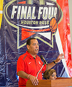 University of Houston basketball coach Kelvin Sampson comments during the Read for the NCAA Final Four kick-off at Blackshear Elementary School, September 24, 2015.