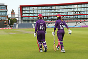 Loughborough Lightning's Amy Jones (Wicket Keeper) & Hayley Matthews during the Women's Cricket Super League match between Lancashire Thunder and Loughborough Lightning at the Emirates, Old Trafford, Manchester, United Kingdom on 20 August 2019.