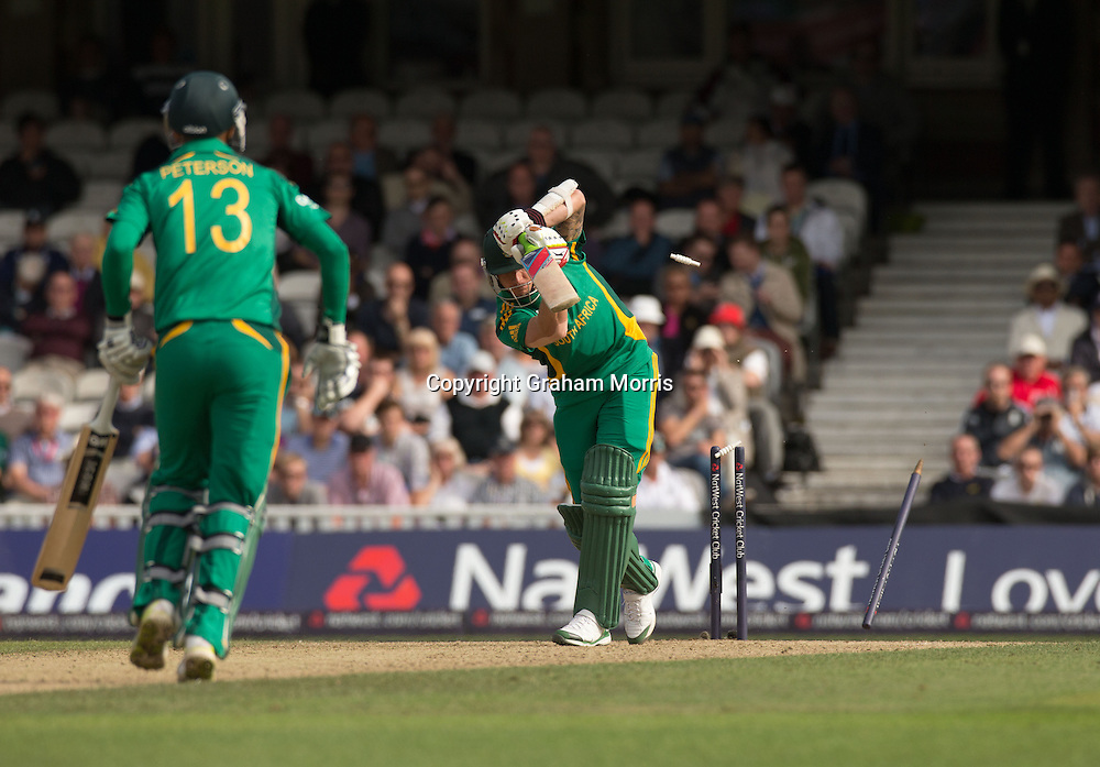 Dale Steyn is bowled by James Anderson during the third NatWest Series one day international between England and South Africa at the Kia Oval, London. Photo: Graham Morris (Tel: +44(0)20 8969 4192 Email: sales@cricketpix.com) 31/08/12