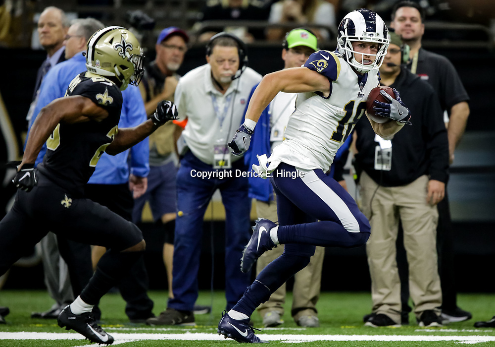 Nov 4, 2018; New Orleans, LA, USA; Los Angeles Rams wide receiver Cooper Kupp (18) catches a touchdown over New Orleans Saints cornerback Eli Apple (25) during the fourth quarter at the Mercedes-Benz Superdome. Mandatory Credit: Derick E. Hingle-USA TODAY Sports