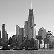 The Freedom Tower and Lower Manhattan in black & white