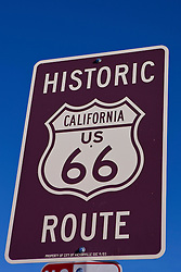 Detailed view of a Historic Route 66 sign, Victorville, California, United States of America