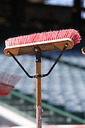 ANAHEIM, CA - JUNE 5:  A broom awaits use by the grounds crew before the Los Angeles Angels of Anaheim game against the Chicago Cubs on Wednesday, June 5, 2013 at Angel Stadium in Anaheim, California. The Cubs won the game 8-6 in ten innings. (Photo by Paul Spinelli/MLB Photos via Getty Images)