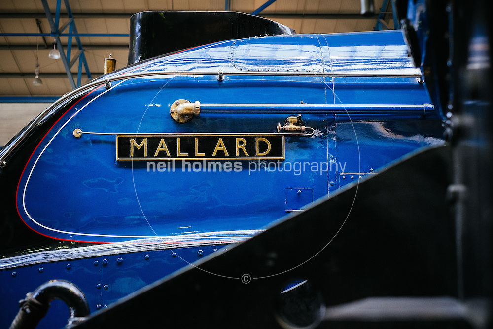 National Railway Museum, York, North Yorkshire, United Kingdom, 01 November, 2014. Pictured: On 3 July 1938, the A4 class locomotive Mallard 4468 raced down Stoke Bank at 126mph to set a new steam locomotive world speed record.