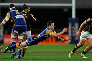 Josh Walden of Otago makes a pass during the Mitre 10 Competition match between Otago and Wellington at Forsyth Barr Stadium on August 25, 2016 in Dunedin, New Zealand. Credit: Joe Allison / www.Photosport.nz