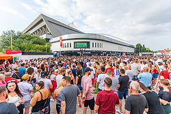 Fans watch the game on the outdoor big screen at Ashton Gate - Ryan Hiscott/JMP - 11/07/2018 - FOOTBALL - Ashton Gate - Bristol, England - England v Croatia, World Cup Village at Ashton Gate, FIFA World Cup Semi Final 2018