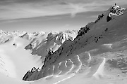 Jeff Dostie stands atop &quot;Shakedown Street&quot; in the Chugach Range during the first ascent and descent.<br /> <br /> Photo by David Stubbs &copy; 2012