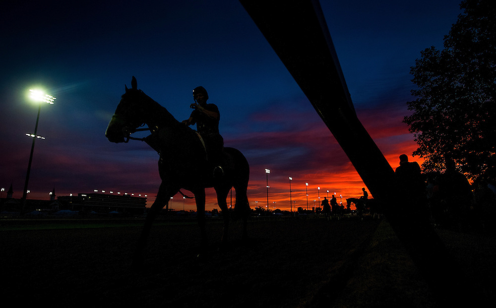 Horses prepare for the Kentucky Derby at Churchill Downs in Louisville, KY on May 02, 2013. (Alex Evers/ Eclipse Sportswire)
