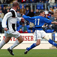 St Johnstone v StMirren....25.10.03<br />Mark Robertson puts St Johnstone in the lead<br /><br />Picture by Graeme Hart<br />Perthshire Picture Agency<br />Tel: 01738 623350 / 07990 594431