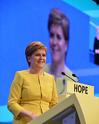 Pictured: SNP leader Nicola Sturgeon speaks to conference.<br /> <br /> The SNP held their spring conference at the EICC in Edinburgh, where independence and brevet were high on the agenda.<br /> <br /> &copy; Dave Johnston / EEm