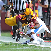 MINNEAPOLIS, MN - SEPTEMBER 10: Carlton Djam #29 of the Minnesota Golden Gophers flies after being tripped by Devin Brockington #12 of the Indiana State Sycamores in the fourth quarter at TCFBank Stadium on September 10, 2016 in Minneapolis, Minnesota. (Photo by Adam Bettcher/Getty Images) *** Local Caption ***Carlton Djam; Devin Brockington