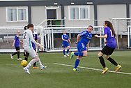 Laura Parsley (blue shirt) scores with a cheeky backheel for Farmington in her side's 4-1 win over East Fife - Forfar Farmington v East Fife in the Scottish Womens' Premier League 2 at Station Park in  Forfar : Image &copy; David Young<br />
