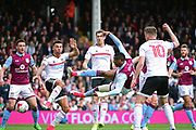 Aston Villa striker Jonathan Kodjia (26) goes for goal  during the EFL Sky Bet Championship match between Fulham and Aston Villa at Craven Cottage, London, England on 17 April 2017. Photo by Jon Bromley.