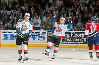 KELOWNA, CANADA - MARCH 22: Tyson Baillie #24 of the Kelowna Rockets celebrates a goal against the Tri-City Americans on March 22, 2014 at Prospera Place in Kelowna, British Columbia, Canada.   (Photo by Marissa Baecker/Shoot the Breeze)  *** Local Caption *** Tyson Baillie;