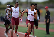 Seaver Cardoza runs the anchor leg on the Long Beach Wilson 4 x 400m relay that won in 3:13.86 during the 2019 CIF Southern Section Masters Meet in Torrance, Calif., Saturday, May 18, 2019.