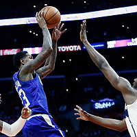 09 December 2017: LA Clippers guard Lou Williams (23) goes for the tear drop shot against Washington Wizards center Ian Mahinmi (28) during the LA Clippers 113-112 victory over the Washington Wizards, at the Staples Center, Los Angeles, California, USA.