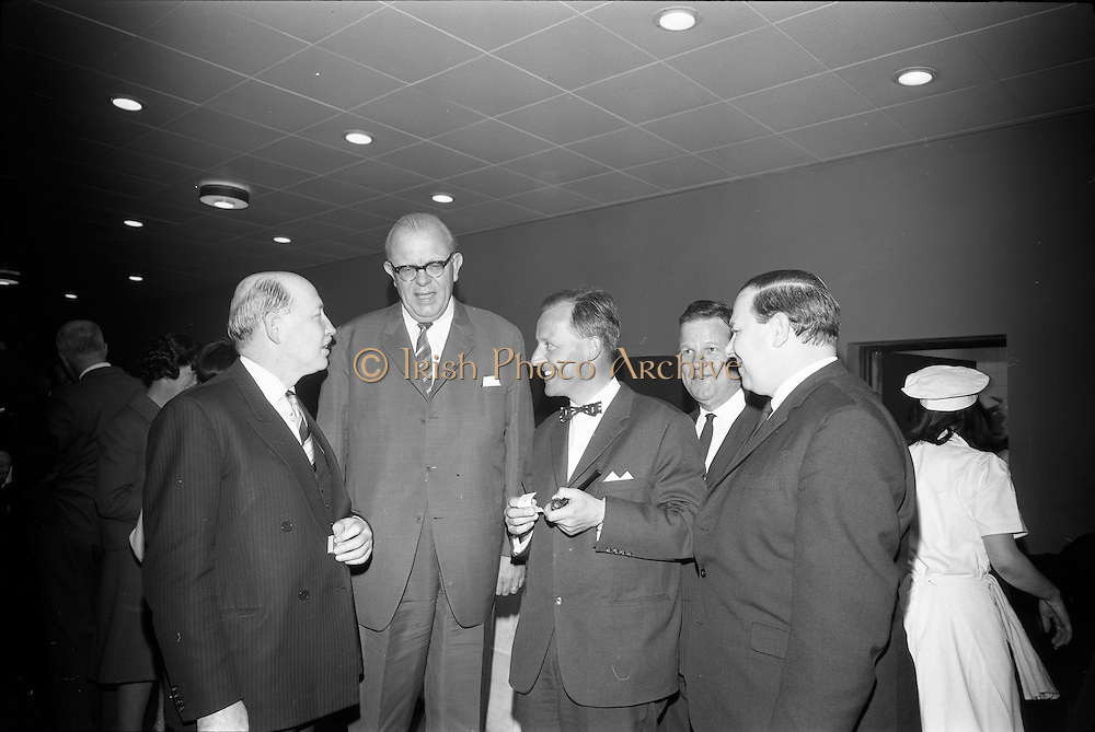 25/03/1966<br /> 03/25/1966<br /> 25 March 1966<br /> Shock Symposium at UCD, Belfield, Dublin. The symposium on medical &quot;Shock&quot; sponsored by Pharmacia International was held at the Department of Science at U.C.D.. Over 250 attended the symposium that was presided over by Prof. P. FitzGerald M.D., M.Ch., M.Sc F.R.C.S.I.. Picture shows (l-r): Prof. P. FitzGerald; The Swedish Ambassador H.E. Nils-Erik Ekblad who attended; one of the speakers Dr. V.F. Gruber, M.D. (Switzerland); Mr Don Douglas, Pharmacy International representative and Mr. P.E. Gravel, Managing Director, Goodbody Ltd. chatting at a reception after the event.