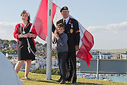 Charlotte Crookston, Young Mayor of Newhaven at the 71st Anniversary of the Dieppe Raid held at Newhaven Fort, East Sussex followed by a Memorial Service at the Canadian Memorial at South Way. March of the Standard Bearers and Veterans from Denton Island to the Memorial
