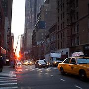 Manhatten in New York city at dawn