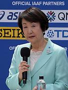Yokoyama mayor Fumiko Hayashi during a news conference prior to the IAAF World Relays, Friday, May 10, 2019,  in Yokohama, Japan.