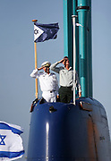 General Benjamin Benny Gantz Chief of General Staff of the Israel Defense Forces at the arrival of the new Israeli Navy INS Tannin (Dolphin class) submarine from Germany in Haifa on September 23 2014