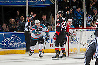 KELOWNA, CANADA - FEBRUARY 18: Nick Merkley #10 of the Kelowna Rockets celebrates a first period goal against the Prince George Cougars on February 18, 2017 at Prospera Place in Kelowna, British Columbia, Canada.  (Photo by Marissa Baecker/Shoot the Breeze)  *** Local Caption ***