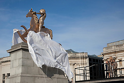 © Licensed to London News Pictures. 23/02/2012. LONDON, UK. Unveiled by actress Joanna Lumey today (23/02/12) in Trafalgar Square, Elmgreen and Dragset's 'Powerless Structures, Fig. 101' replaces the previous sculpture of a ship in a bottle on the famous Fourth Plinth. Photo credit: Matt Cetti-Roberts/LNP