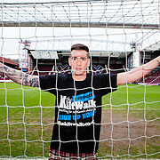 Jamie Walker of Hearts Football Club doing a promo shoot for The Kiltwalk at Tyncastle Stadium on Thursday 5th Feb 2015.