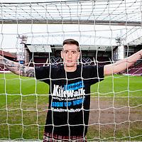 Jamie Walker of Hearts Football Club doing a promo shoot for The Kiltwalk at Tyncastle Stadium on Thursday 5th Feb 2015.