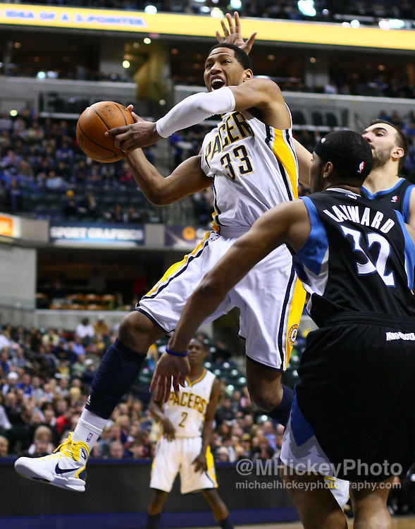 Feb. 11, 2011; Indianapolis, IN, USA; Indiana Pacers forward Danny Granger (33) drives to the basket against the Minnesota Timberwolves at Conseco Fieldhouse. Mandatory credit: Michael Hickey-US PRESSWIRE