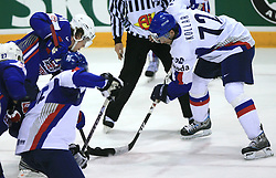 Anze Kopitar of Slovenia and Andrej Kollar of Slovakia  at ice-hockey game Slovenia vs Slovakia at second game in  Relegation  Round (group G) of IIHF WC 2008 in Halifax, on May 10, 2008 in Metro Center, Halifax, Nova Scotia, Canada. Slovakia won after penalty shots 4:3.  (Photo by Vid Ponikvar / Sportal Images)