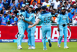 Chris Woakes of England celebrates with teammates after taking a catch to dismiss Rishabh Pant of India - Mandatory by-line: Robbie Stephenson/JMP - 30/06/2019 - CRICKET - Edgbaston - Birmingham, England - England v India - ICC Cricket World Cup 2019 - Group Stage